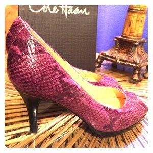 Cole Haan Purple snakeskin pumps